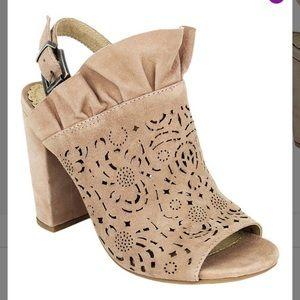 NIB-Geometric Laser-Cut Ruffle Accent Sandals